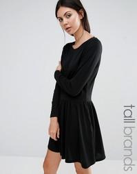 Короткое приталенное трикотажное платье Brave Soul Tall - Черный