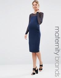 Облегающее платье с сетчатой вставкой Mamalicious - Темно-синий Mama.Licious
