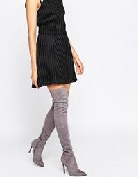 Серые сапоги-ботфорты на каблуке-шпильке Kendall & Kylie - Серый