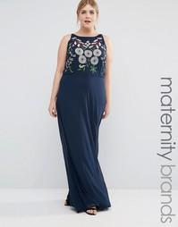 Платье макси с вышивкой на лифе Lovedrobe Plus - Темно-синий