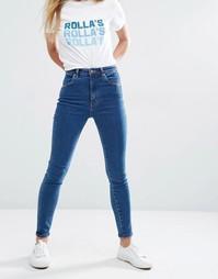 Укороченные джинсы скинни с завышенной талией Rollas Eastcoast - Синий Rollas