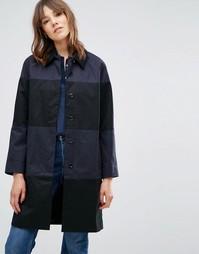 Длинное пальто в полоску YMC - Синий