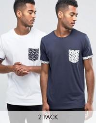 2 футболки с принтом звезд на кармане Brave Soul - Темно-синий