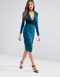 Платье-футляр с длинными рукавами и контрастной талией Hedonia - Зеленый