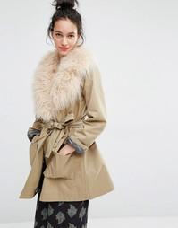 Пальто с воротником из искусственного меха Essentiel Antwerp Malicious - Бежевый