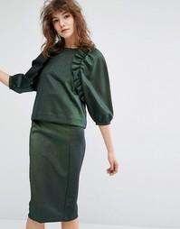 Топ с рюшами в стиле ретро Essentiel Antwerp - Зеленый