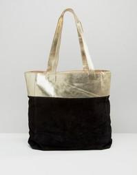 Замшевая сумка-шоппер с кожаной вставкой цвета металлик Urbancode - Золотой