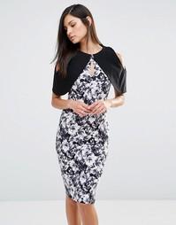 Монохромное платье-футляр с короткими рукавами и цветочным принтом Vesper - Черный