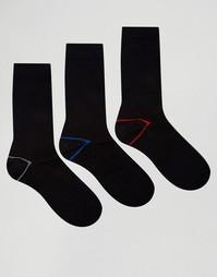 3 пары хлопковых носков с контрастной пяткой на подкладке Ciao Italy - Черный