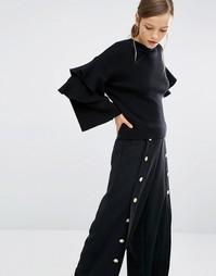 Топ с оборками на рукавах Asilio Material Girl - Черный