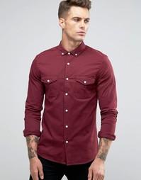 Бордовая рубашка скинни в стиле милитари ASOS - Красный