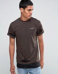 Двухслойная удлиненная футболка с рваной отделкой Illusive London - Зеленый