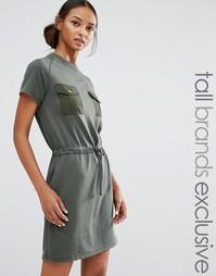 Свободное платье с карманами Daisy Street Tall - Зеленый
