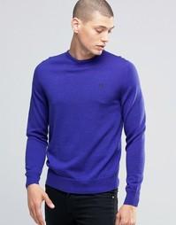 Синий меланжевый джемпер с круглым вырезом Fred Perry - Синий