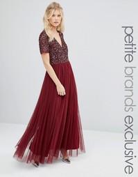 Тюлевое платье макси с однотонными пайетками Maya Petite - Красный