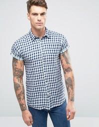 Рубашка в клетку с короткими рукавами Scotch and Soda - Темно-синий