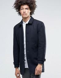 Полушерстяное пальто со стеганой подкладкой Minimum Jenkins - Темно-синий