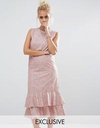 Платье миди с цветочным принтом Milk It Vintage - Розовый