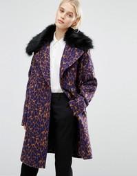 Строгое пальто с воротником из искусственного меха и леопардовым принтом Lost Ink - Мульти