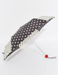 Суперкомпактный зонт со звездным принтом Lulu Guinness 2 Stars - Черный