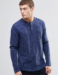 Меланжевая футболка с воротником на пуговицах G-Star Xauri - Темно-синий