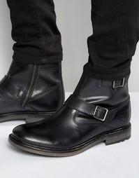 Кожаные байкерские ботинки Base London Zinc - Черный