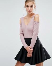 Кроп-топ в рубчик с открытыми плечами Miss Selfridge - Розовый