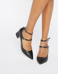 Туфли на каблуке с заостренным носком и двумя ремешками Miss Selfridge - Черный