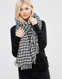 Oversize-шарф с узором гусиная лапка 7X - Черный