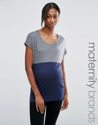 Футболка в стиле колор блок для беременных Mamalicious Maternity - Темно-синий Mama.Licious
