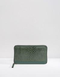 Кожаный кошелек со вставкой под змеиную кожу Urbancode - Зеленый