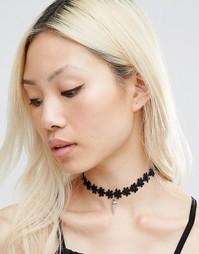 Тканое ожерелье-чокер с цветочной отделкой и подвеской Ashiana - Черный