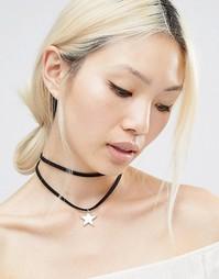 Короткое ожерелье в два ряда со звездочкой Ashiana - Черный