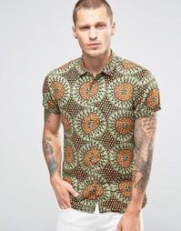 Льняная рубашка с короткими рукавами и принтом Scotch and Soda - Зеленый