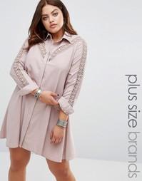 Платье-рубашка с кружевной вставкой Alice & You - Фиолетовый