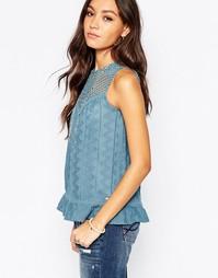 Рубашка без рукавов с кокеткой в стиле кроше Pepe Jeans - Синий
