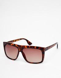 Солнцезащитные очки в черепаховой оправе с плоским верхом Jeepers Peepers - Коричневый