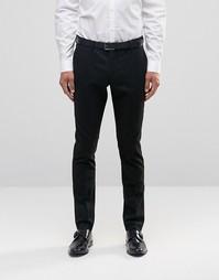Зауженные брюки стретч в тонкую полоску Selected Homme - Черный