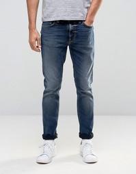 Темные суженные книзу джинсы цвета индиго Nudie Lean Dean - Темно-синий