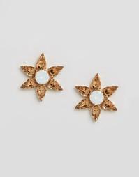 Серьги-звездочки с кристаллами Swarovski от Krystal - Золотой