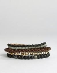Комплект браслетов из разных бусин Icon Brand - Коричневый