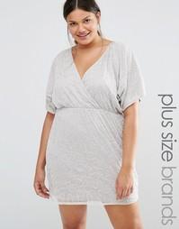 Платье с запахом и отделкой Boohoo Plus - Серый
