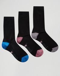 3 пары однотонных носков с контрастным носком и пяткой Lovestruck - Черный