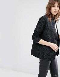 Пиджак с леопардовым принтом Suncoo Edwin - Черный