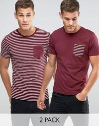2 полосатые футболки с карманом Brave Soul - Красный