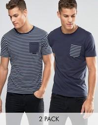2 полосатые футболки с карманом Brave Soul - Темно-синий
