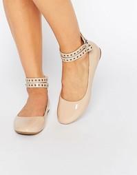 Нюдовые туфли с ремешками на щиколотке Daisy Street - Бежевый