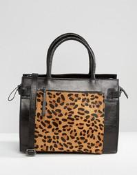 Кожаная сумка-тоут с леопардовым принтом на переднем кармане Urbancode - Черный