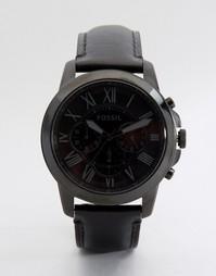 Часы с черным кожаным ремешком Fossil Grant - Черный