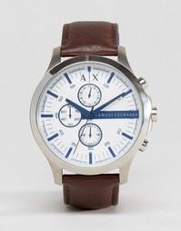 Часы-хронограф с коричневым кожаным ремешком Armani Exchange AX2190 - Коричневый